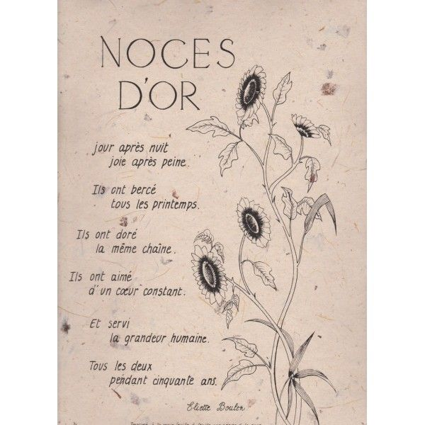 poeme noce d'or