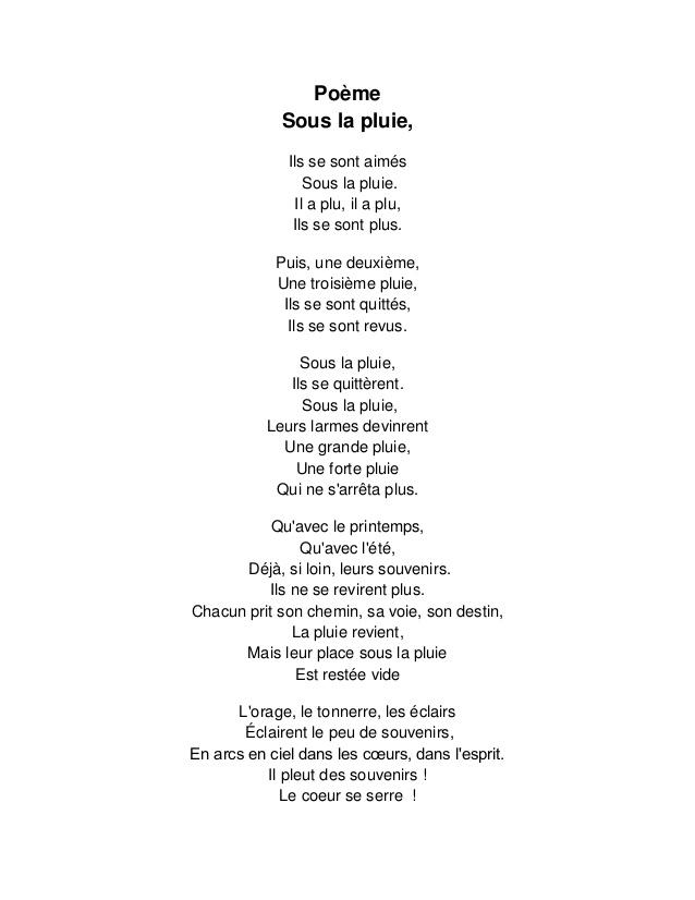 poeme pluie