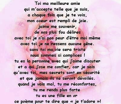 poeme pour sa meilleure amie