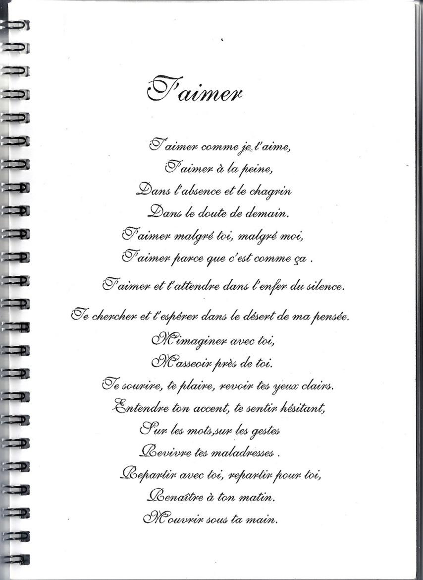 poeme t'aimer en silence