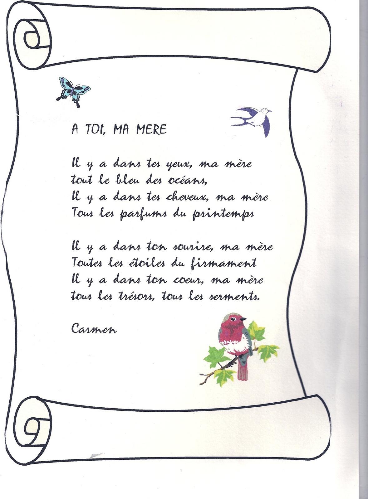 poeme une mere