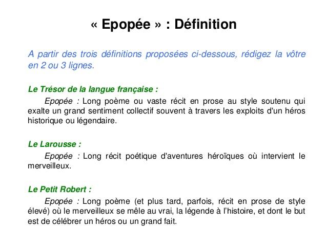 poesie epique definition
