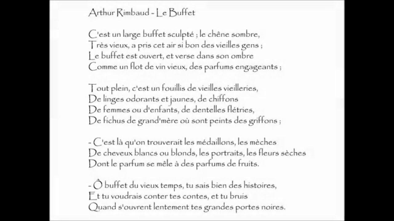 poesie o buffet du vieux temps