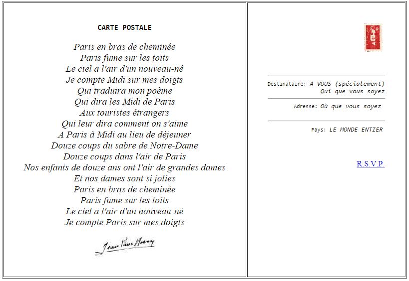 poesie une carte postale